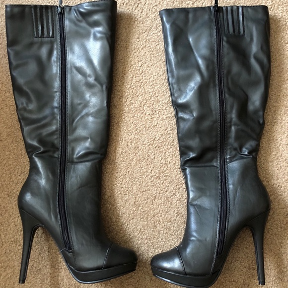 san francisco detailed pictures amazon NWOT- High heeled black platform boots! Wide calf!